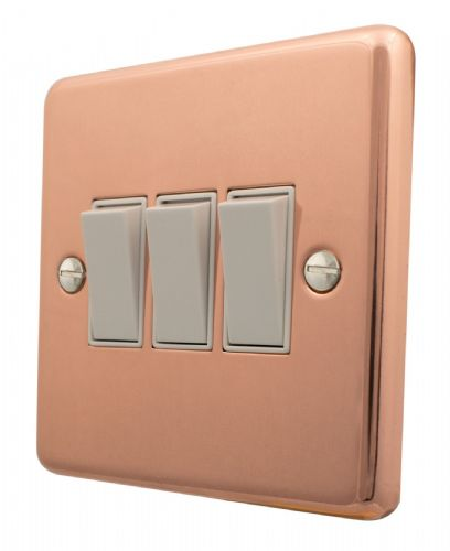 G&H CBC3W Standard Plate Bright Copper 3 Gang 1 or 2 Way Rocker Light Switch